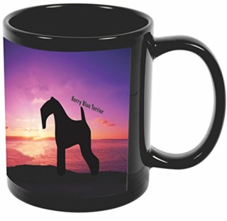 Rikki Knight Kerry Blue Terrier Dog At Sunset Design 11 oz Photo Quality BLACK Ceramic Coffee Mugs Cups - Dishwasher and Microwave Safe