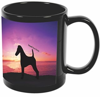 Rikki Knight Smooth Fox Terrier Dog at Sunset Design 11 oz Photo Quality BLACK Ceramic Coffee Mugs Cups - Dishwasher and Microwave Safe