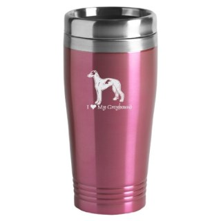 16-ounce Stainless Travel Mug - I Love My Greyhound - Pink