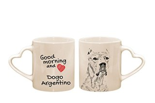 Dogo Argentino, mug with a dog, cup, ceramic, new collection, heart handle