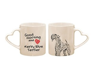 Kerry Blue Terrier, mug with a dog, cup, ceramic, new collection, heart handle