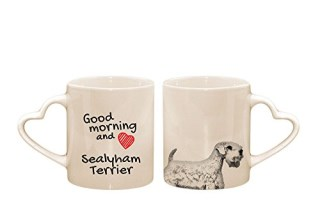 Sealyham terrier, mug with a dog, cup, ceramic, new collection, heart handle