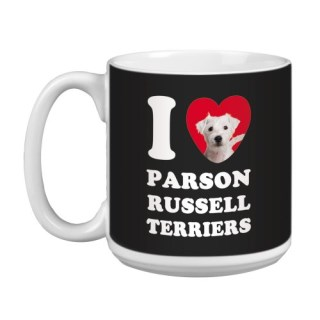 Tree Free Greetings XM29097 I Heart Parson Russell Terriers Artful Jumbo Mug, 20-Ounce, White