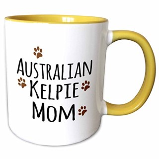 3dRose 154060_8 Australian Kelpie Dog Mom-Doggie by Breed-Mudd Ceramic Mug, Yellow/White
