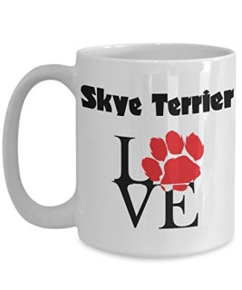 Perfect Dog Lover Gifts - Love Paws Red Mug (15 oz, Skye Terrier)