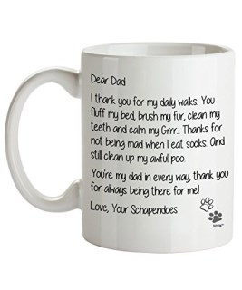 Schapendoes Dad Coffee Mug - Dear Dad - Dog Themed Gifts For Dog Owner - Birthday, Christmas, Father's Day - Novelty Cup By Whizk MDDDE210
