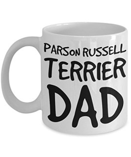 Parson Russell Terrier Dad Mug - White 11oz Ceramic Tea Coffee Cup - Perfect For Travel And Gifts