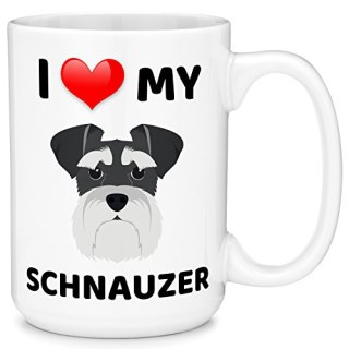 Mugvana 15oz Coffee Mug I Love My Schnauzer Dog Animal Novelty Ceramic Coffee & Tea Cup Cool Gifts for Men or Women with Gift Box