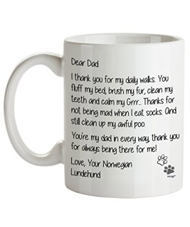 Norwegian Lundehund Dad Coffee Mug - Dear Dad - Dog Themed Gifts For Dog Owner - Birthday, Christmas, Father's Day - Novelty Cup By Whizk MDDDE094
