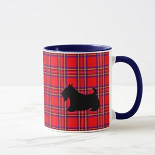 Zazzle Red Scottish Terrier Coffee Travel Mug Gift, Navy Blue Combo Mug 11 oz