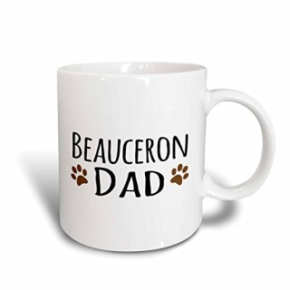 3dRose (mug_153858_2) Beauceron Dog Dad - Doggie by breed - brown muddy paw prints - doggy lover - pet owner love - Ceramic Mug, 15-ounce