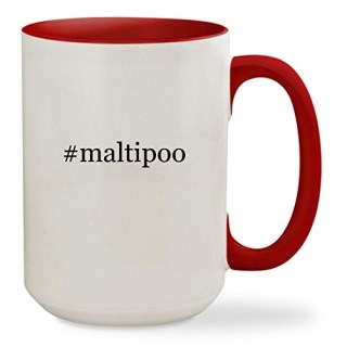 #maltipoo - 15oz Hashtag Colored Inside & Handle Sturdy Ceramic Coffee Cup Mug, Red