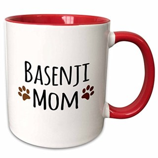 "3dRose mug_154063_5 ""Basenji Dog Mom Doggie by breed Brown Muddy Paw Prints Two Tone Red"" Mug, 11 oz, Red/White"