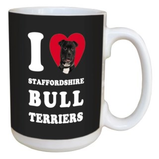 Tree Free Greetings LM45126 I Heart Staffordshire Bull Terriers Ceramic Mug with Full-Sized Handle, 15-Ounce, Black and White
