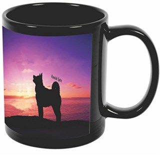 Rikki Knight Finnish Spitz Dog At Sunset Design 11 oz Photo Quality BLACK Ceramic Coffee Mugs Cups - Dishwasher and Microwave Safe