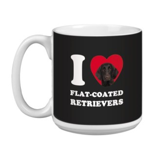 Tree Free Greetings XM29052 I Heart Flat-Coated Retrievers Artful Jumbo Mug, 20-Ounce