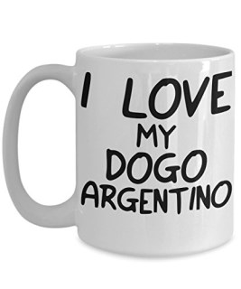 I Love My Dogo Argentino Mug - White 11oz Ceramic Tea Coffee Cup - Perfect For Travel And Gifts