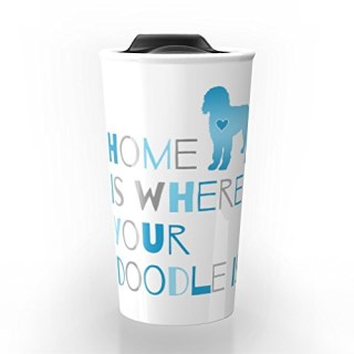 Society6 Home Is Where Your Doodle Is, Art For The Labradoodle Or Goldendoodle Dog Lover Travel Mug 12 oz