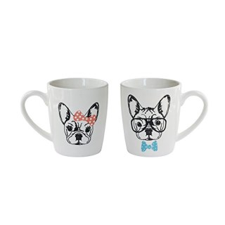 American Atelier 1562534-2M French Bulldogs Coffee Mugs, White
