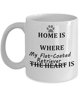 Cute Flat-Coated Retriever Coffee Mug, Great Gift forFlat-Coated Retriever Mom or Dad, White Ceramic, Double-Sided Print