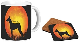 Rikki Knight German Pinscher Dog Silhouette By Moon Design 11 oz Photo Quality Ceramic Coffee Mug with a Matching Square Coaster Combo