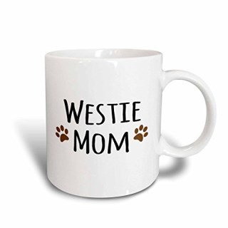 3dRose mug_154215_1 Westie Dog Mom West Highland White Terrier Doggie by Breed Doggy Lover Owner Brown Paw Prints Ceramic Mug, 11 oz, White