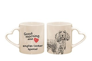 English Cocker Spaniel, mug with a dog, cup, ceramic, new collection, heart handle