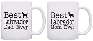 Dog Lover Gift Best Labrador Retriever Mom Dad Ever Bundle 2 Pack Gift Coffee Mugs Tea Cups White