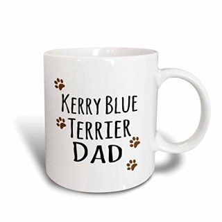 3dRose mug_153933_1 Kerry Blue Terrier Dog Dad Doggie by Breed Brown Muddy Paw Prints Doggy Lover Pet Owner Love Ceramic Mug, 11-Ounce, White