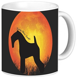 Rikki Knight Kerry Blue Terrier Dog Silhouette by Moon Photo Quality Ceramic Coffee Mug, 11-Ounce