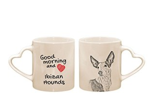 Ibizan hounds, mug with a dog, cup, ceramic, new collection, heart handle