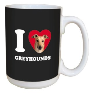 Tree Free Greetings LM45064 I Heart Greyhounds Ceramic Mug with Full-Sized Handle, 15-Ounce, Tan