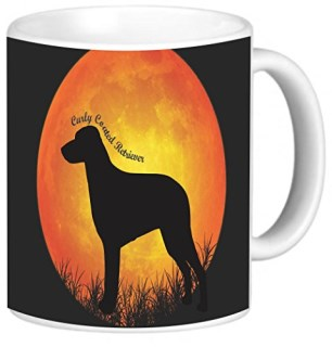 Rikki Knight Curly Coated Retriever Dog Silhouette by Moon Photo Quality Ceramic Coffee Mug, 11-Ounce