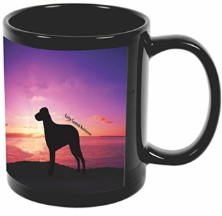 Rikki Knight Curly Coated Retriever Dog At Sunset Design 11 oz Photo Quality BLACK Ceramic Coffee Mugs Cups - Dishwasher and Microwave Safe
