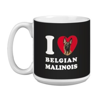 Tree Free Greetings XM29008 I Heart Belgian Malinois Artful Jumbo Mug, 20-Ounce