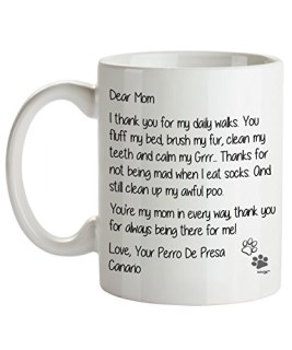Perro De Presa Canario Mom Coffee Mug - Dear Mom - Dog Themed Gifts For Dog Lady, Mommy, Owner - Birthday, Christmas, Mother's Day - Novelty Cup By Whizk MDDME072