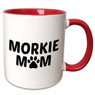 3dRose Xander animal quotes - Morkie mom, picture of a dog paw on a white background - 11oz Two-Tone Red Mug (mug_256559_5)