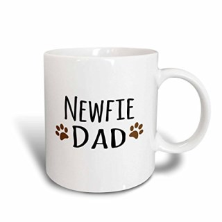 3dRose mug_153950_1 Newfie Dog Dad-Newfoundland Doggie by Breed-Muddy Brown Paw Prints-Doggy Lover Pet Owner Love Ceramic Mug, 11-Ounce