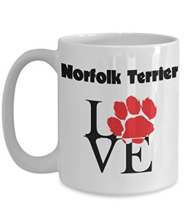 Perfect Dog Lover Gifts - Love Paws Red Mug (15 oz, Norfolk Terrier)