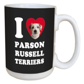 Tree Free Greetings LM45096 I Heart Parson Russell Terriers Ceramic Mug with Full-Sized Handle, 15-Ounce, White and Tan