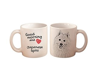 Japanese Spitz, mug with a dog, high quality, cup, ceramic, new collection
