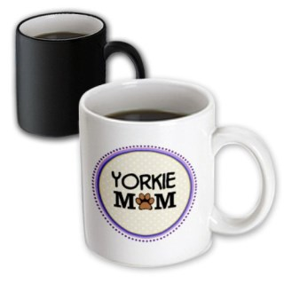 3dRose Yorkie Dog Mom Yorkshire Terrier Doggie Mama by Breed Magic Transforming Mug, 11-Ounce