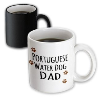 3dRose (mug_153966_3) Portuguese Water Dog Dad - Doggie by breed - muddy brown paw print - doggy lover proud pet owner - Magic Transforming Mug, 11oz