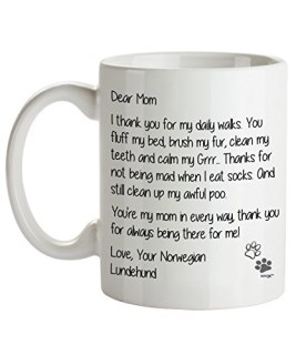 Norwegian Lundehund Mom Coffee Mug - Dear Mom - Dog Themed Gifts For Dog Lady, Mommy, Owner - Birthday, Christmas, Mother's Day - Novelty Cup By Whizk MDDME094