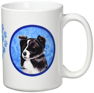 Caroline's Treasures SC9138PK-CM15 Border Collie Microwavable Ceramic Coffee Mug, 15 oz, Multicolor