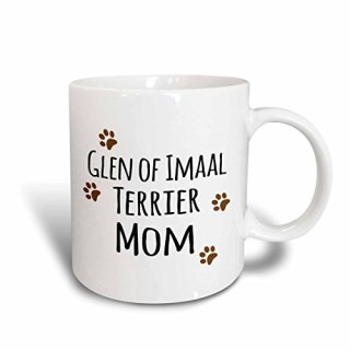 3dRose mug_154125_2 Glen of Imaal Terrier Dog Mom Doggie By Breed Brown Paw Prints Doggy Lover Pet Owner Mama Love Ceramic Mug, 15-Ounce