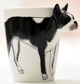 3D Hand-painted Ceramic Coffee Mugs,Milk Cups (Boston Terrier)-NEWCOM