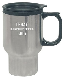 Crazy Blue Picardy Spaniel Lady Gift For Dog Lover - Travel Mug