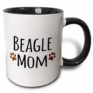 3dRose 3dRose Beagle Dog Mom - Doggie by breed - brown muddy paw prints - doggy lover - proud mama pet owner love - Two Tone Black Mug, 11oz (mug_154065_4), , Black/White