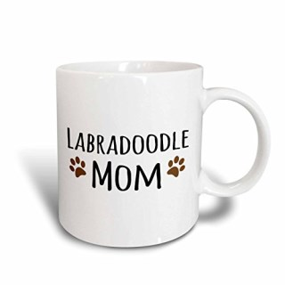3dRose mug_154149_2 Labradoodle Dog Mom-Doggie by Breed-Brown Muddy Paw Prints-Doggy Lover-Pet Owner Mama Love, Ceramic Mug, 15-Ounce